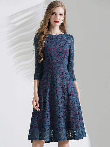 Partysu Lace Print Hit Color Skater Dress