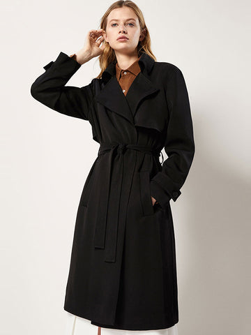 Fashion Belted Pocket Solid Coat Dress