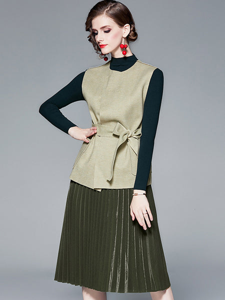 British Three-piece Waistcoat Knit Sweater Dress