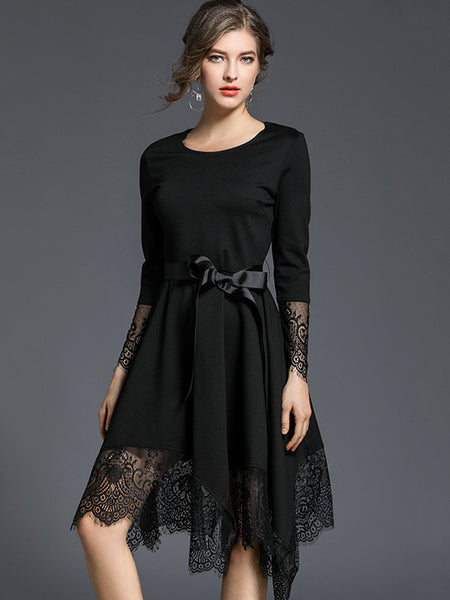 Lace Stitching Lacing Belted Irregular Hem Skater Dress