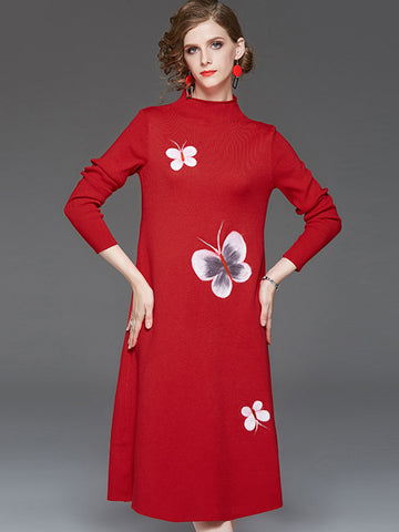 Elegant Butterfly Print Red Knit Sweater Shift Dress