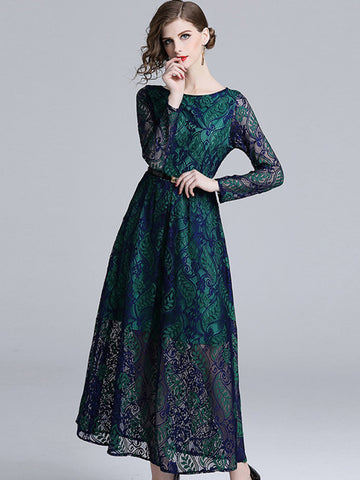 Aristocratic Lace Print Big Hem Maxi Dress