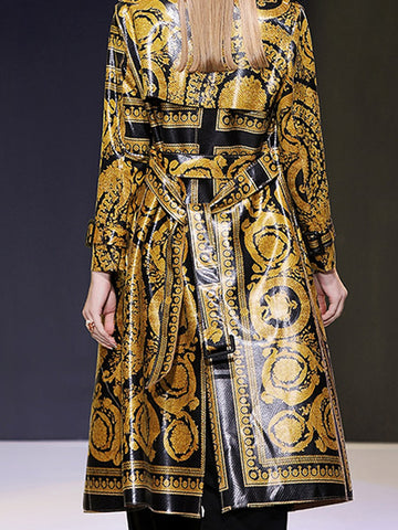 Fashion Snakeskin Belted Print Shift Trench Coat