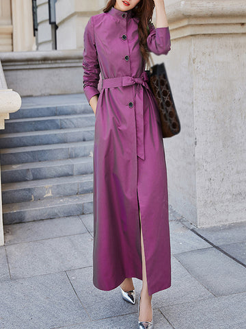 Stylish Stand Collar Multicolor Solid Pocket Coat Dress