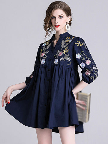 Folk Puff Sleeve Embroidery Print Shift Dress