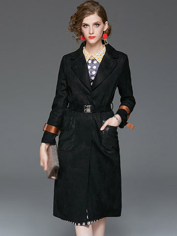 Styleonme Single Breasted Suede Fabric Coat Dress