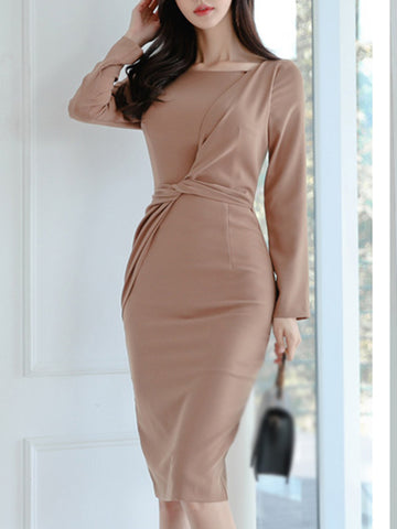 Casual Solid Drape Decorate Waist Bodycon Dress