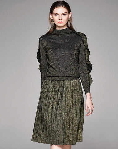 Comfy Vintage Flouncing Sleeve Pleated Two Piece Sweater Dress