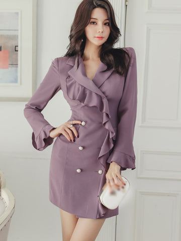 Chic Purple Turn-Down Collar Double-Breasted?Falbala Skater Dress
