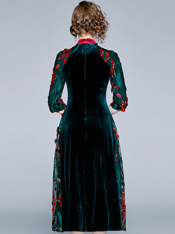 Vintage Embroidery Velour Cheongsam Big Hem Maxi Dress