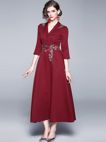 Elegant Red Embroidery V-Neck Big Hem Maxi Dress