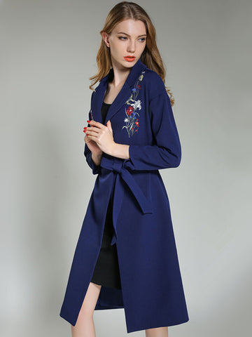 Elegant Embroidery Turn-Down Collar Bodycon Trench Coat