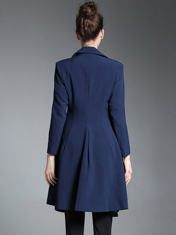 Vintage Turn-Down Collar Long Sleeve A-Line Trench Coat