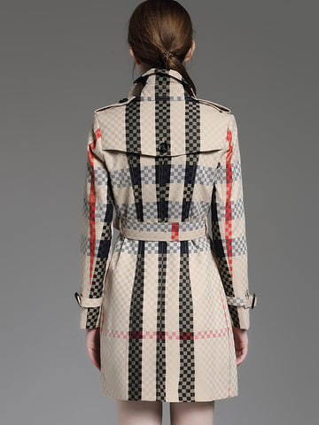 Elegant Striped Turn Down Collar Pockets Trench Coat