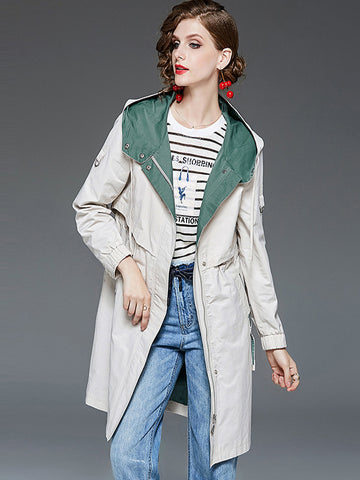 Simple Turn-Down Collar Long Sleeve Hit Color Hood Trench Coat
