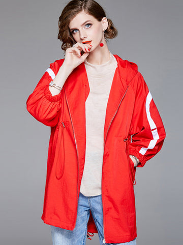 Cute Stitching Long Sleeve Hood Loose Trench Coat