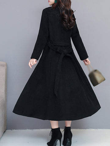 British Stand Collar Long Sleeve Slim Ankle-deep Trench Coat