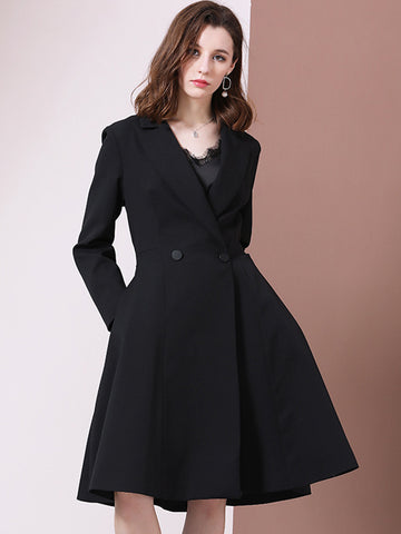 Fashion Turn-Down Collar A-Line Double-Breasted Skater Coat