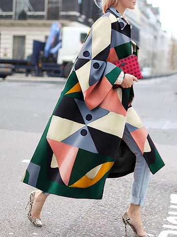 Newest Print Long Sleeve Casual Shift Coat