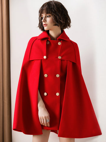 Retro Double-Breasted Turn-Down Collar Cloak Coat
