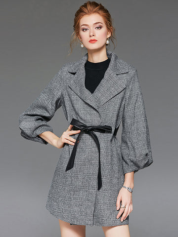 Elegant Mid-Length Sleeve Turn-Down Collar Belted Plaid Coat