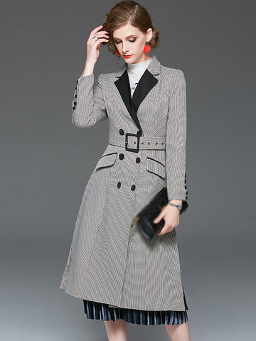Chic Long Sleeve Turn-Down Collar Plaid Coat