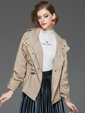 Casual Loose Long Sleeve Hooded Trench Coat