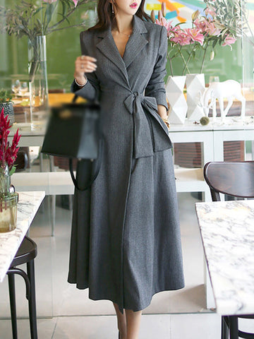 Work Long Sleeve Turn-Down Collar Slim Trench Coat