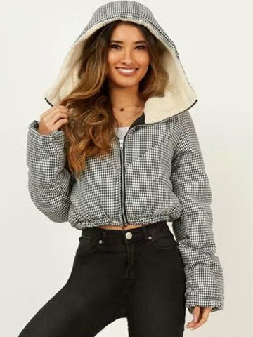 Street Plaid Hooded Long Sleeve Silm Coat