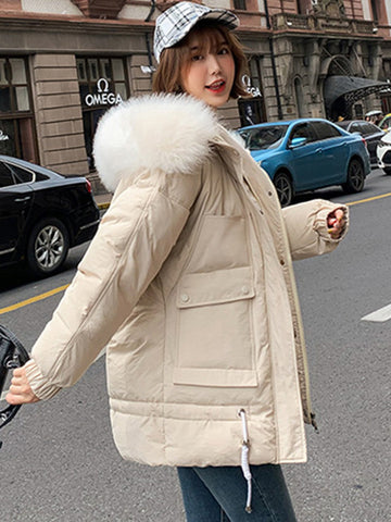 Chic Street Hooded Long Sleeve Pocket Winter Coat