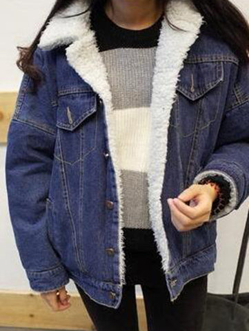 Stylish Blue Denim Long Sleeve Casual Coat