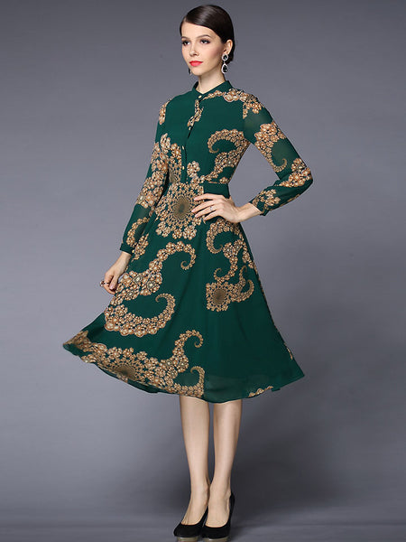 Vintage Stand Collar Print Long Sleeve Dress