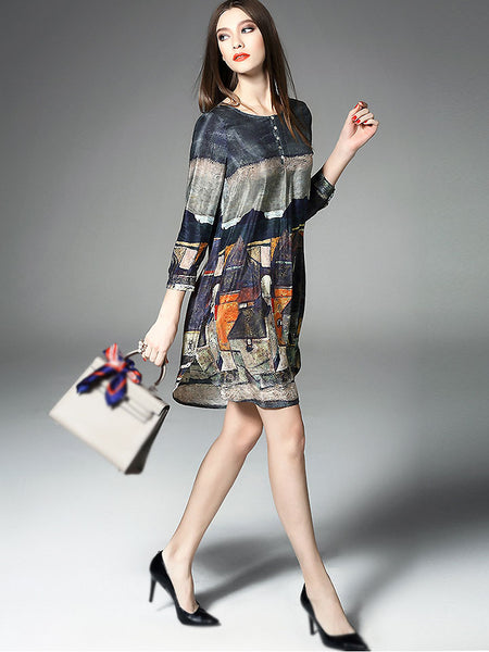 Fashion Floral Print Long Sleeve Silk Dress