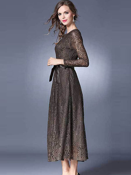 Vintage O-Neck Lace Hollow Out Maxi Dress