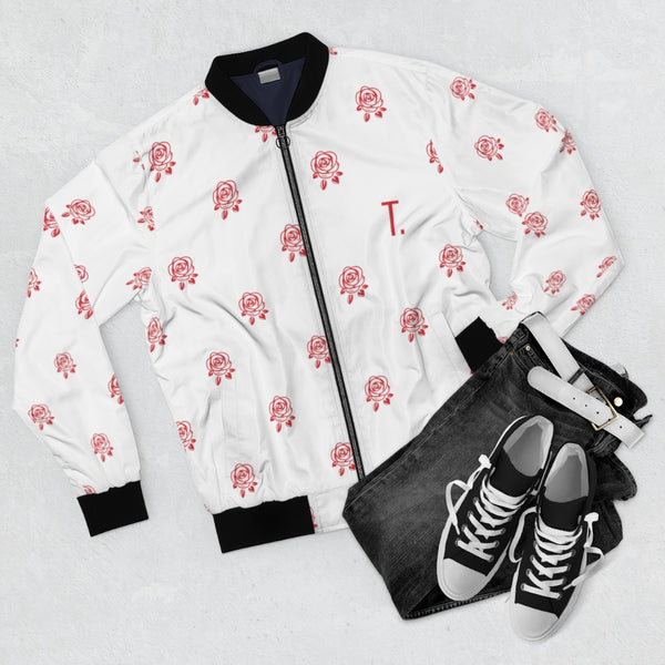 Red Rose | Men's White Bomber Jacket-That Online Company