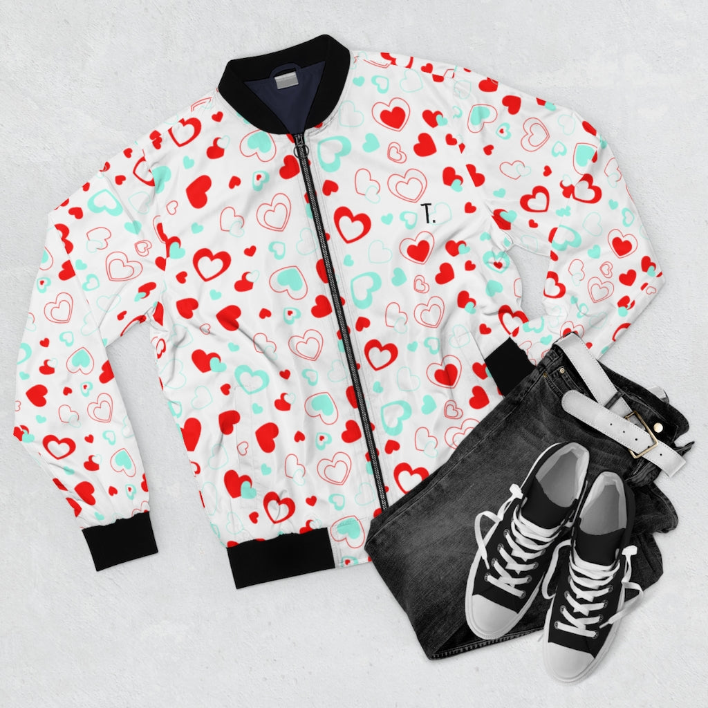 Heart Pattern | Men's White Bomber Jacket-That Online Company