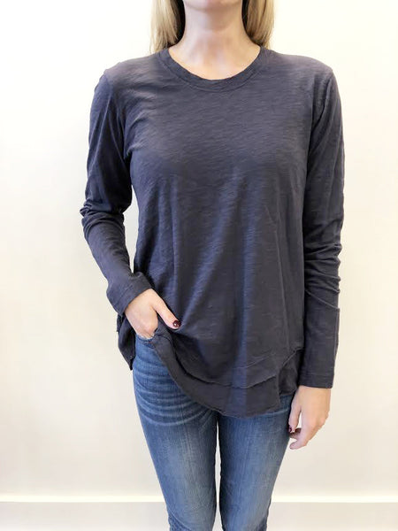 Long Sleeve Mock Layer Top - Blueberry