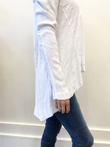 Mixed Panel Tunic Tee - White
