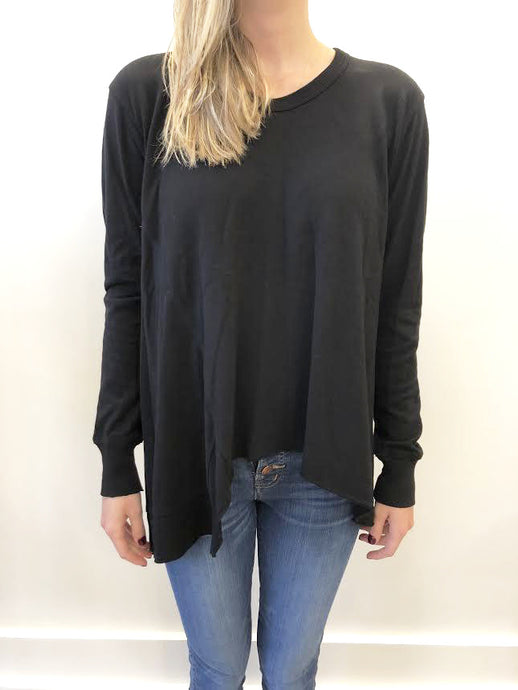 Mixed Panel Tunic Tee - Black