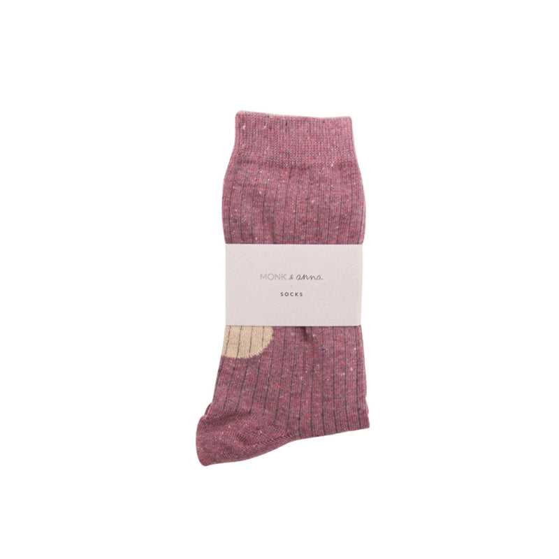 Monk + Anna Socks - Heather Burgundy