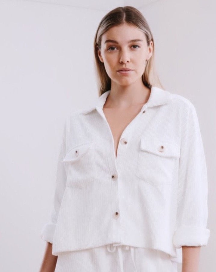 Cord Button Shirt - White