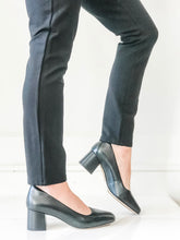Sheer Rose Black Leather Heels