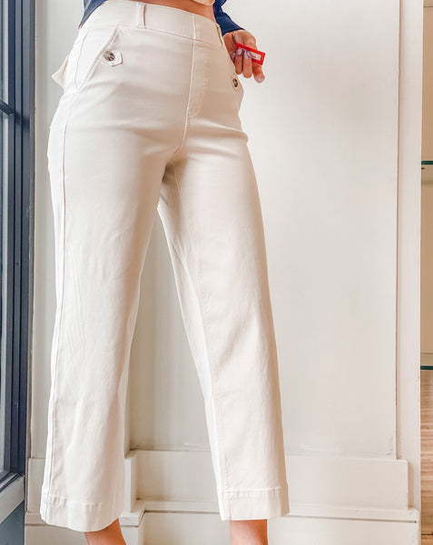 Stretch Cropped Wide Leg Pant