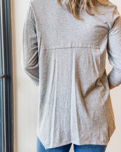 Deep V 3/4 Sleeve - Heather Grey