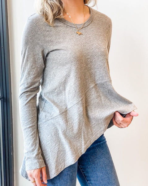 Long Sleeve Slanted Hem Top - Heather Grey