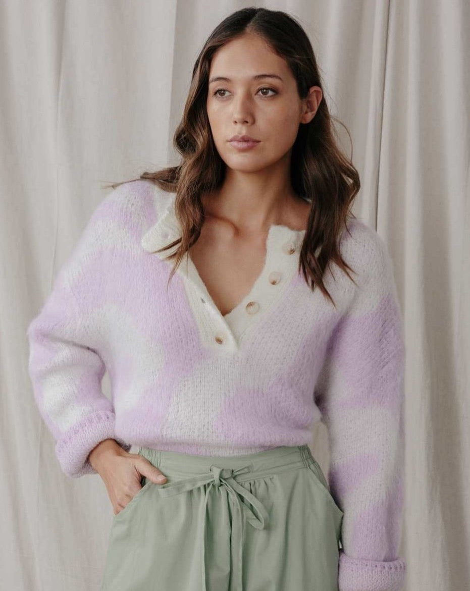 Button Down Pattern Sweater - Lilac