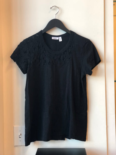 Mesh Lace Shifted Tee - Black