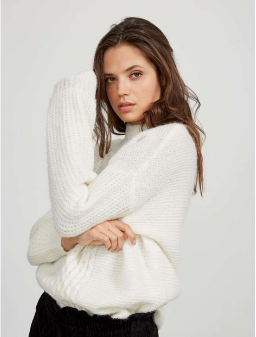 Eliza High Neck Sweater - Ivory