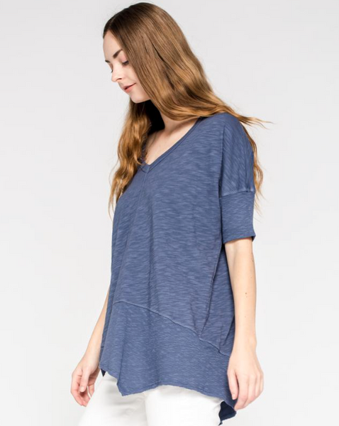 Twisted Seam Top - Blueberry