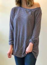 One Shoulder Stripe Tee - Navy/Lavender